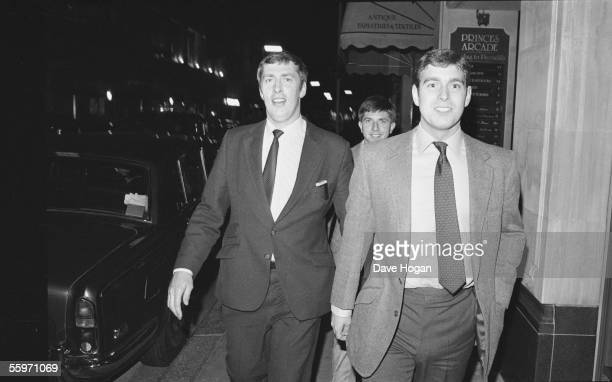 Prince Andrew outside Princes Arcade in London's Piccadilly after leaving Tramp nightclub June 1984
