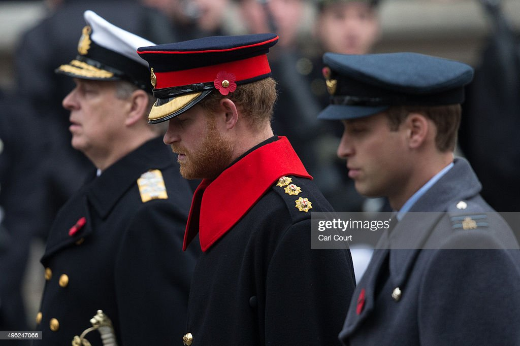 Prince Andrew, Prince Harry and Prince William, Duke of Cambridge attend the annual Remembrance Sunday Service at the Cenotaph on Whitehall on November 8, 2015 in London, United Kingdom. People across the UK gather to pay tribute to service personnel who have died in the two World Wars and subsequent conflicts.