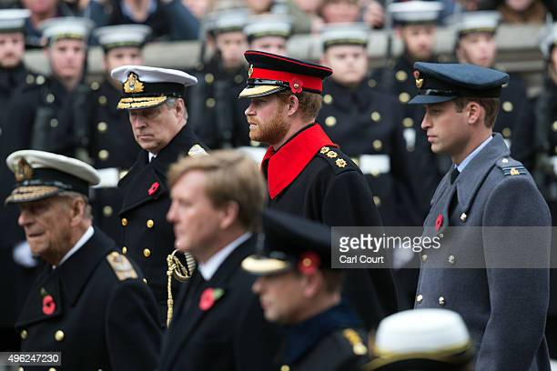Prince Andrew Prince Harry and Prince William Duke of Cambridge attend the annual Remembrance Sunday Service at the Cenotaph on Whitehall on November...