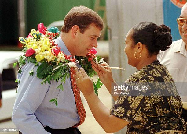 Prince Andrew receives a Sisi from Losilini Koloa upon his arrival at the Ministry Of Fisheries during his time in Tonga as part of the Prince's tour...