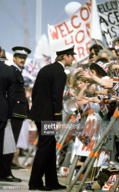 Prince Andrew returns to Portsmouth Harbour from the Falklands War on September 17th 1982
