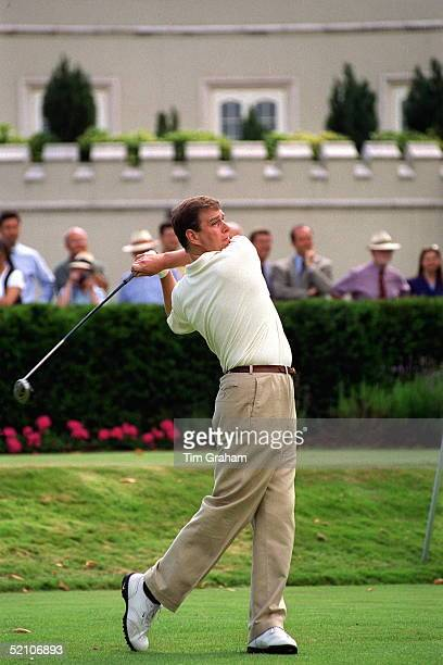 Prince Andrew Takes A Swing During His Visit To Wentworth Golf Club For A Charity Golf Match In Aid Of Children In Crisis