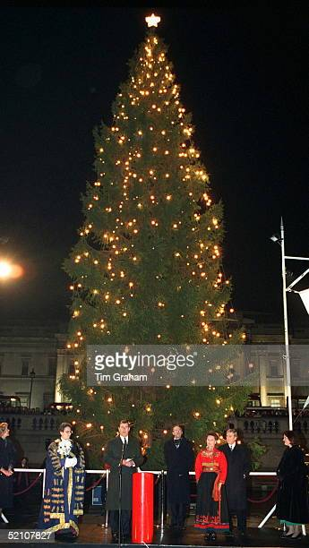 Prince Andrew Thanks Queen Sonja Of Norway For The Gift Of The Annual Christmas Tree For London's Trafalgar Square. It Was The 50th Year Of The Gift...