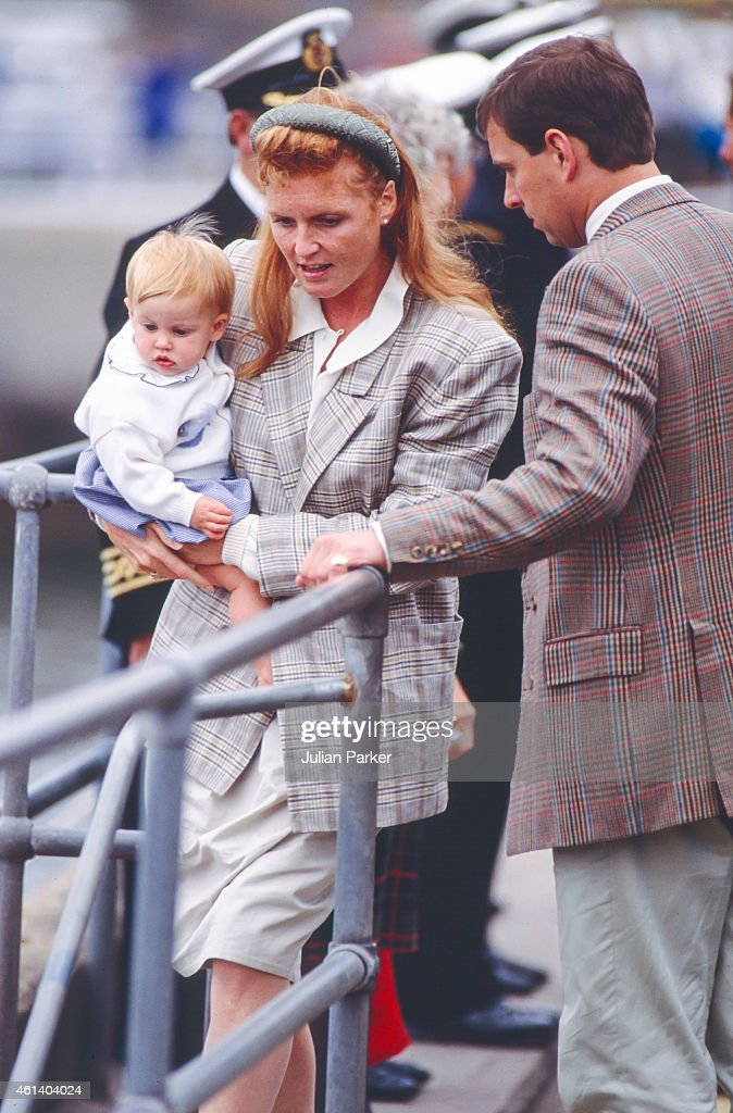 Prince Andrew, The Duke of York, and Sarah, Duchess of York, with Princess Beatrice visiting The Queen Mother, at The Castle of Mey : News Photo