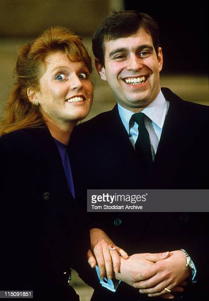 Prince Andrew, the Duke of York and Sarah Ferguson photographed at Buckingham Palace after the announcment of their engagement, London, 17th March...
