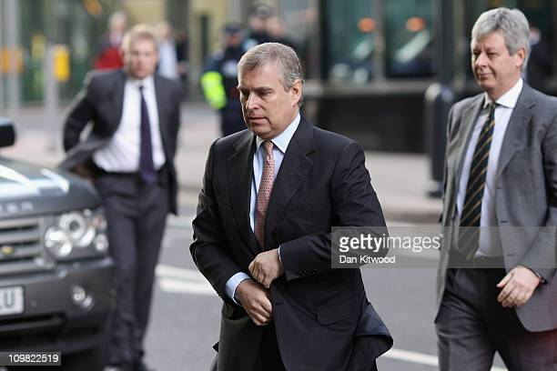 Prince Andrew The Duke of York arrives at the Headquarters of CrossRail in Canary Wharf on March 7 2011 in London England Prince Andrew is under...