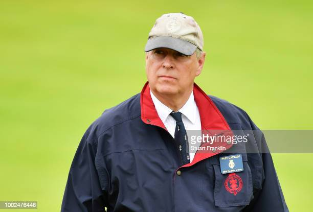 Prince Andrew The Duke of York on course during the second round of the 147th Open Championship at Carnoustie Golf Club on July 20 2018 in Carnoustie...