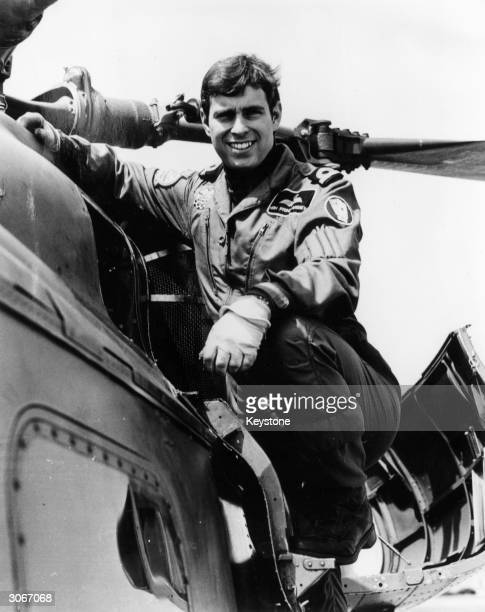 Prince Andrew the Duke of York pilots a Royal Air Force helicopter