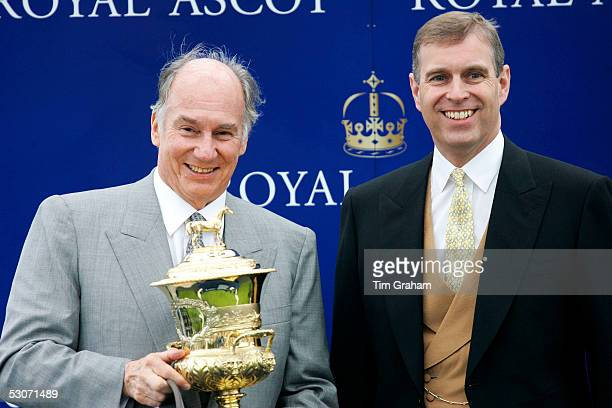 Prince Andrew The Duke of York presents the Prince of Wales Cup to Aga Khan the owner of Azamour the winning horse on the second day of Royal Ascot...