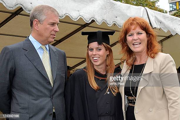 Prince Andrew The Duke York Sarah Duchess of York and their daughter Princess Beatrice following her graduation ceremony at Goldsmiths College on...