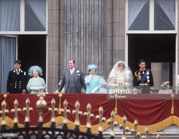 Prince Andrew The Queen Mother Earl Spencer Queen Elizabeth Ll Princess Diana And Prince Charles On The Balcony Of Buckingham Palace On The Wedding...