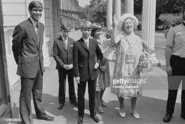 Prince Andrew Viscount Linley Lady Sarah ArmstrongJones and Queen Elizabeth The Queen Mother celebrating the Queen Mother's 76th birthday in the...