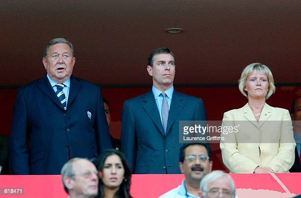 Prince Andrew watches from the stand with Lennart Johansson in the first half during the England v Sweden Group F World Cup Group Stage match played...