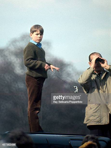 Prince Andrew with his father Prince Philip The Duke of Edinburgh atop a Land Rover during the Badminton Horse Trials in Gloucestershire on 26th...