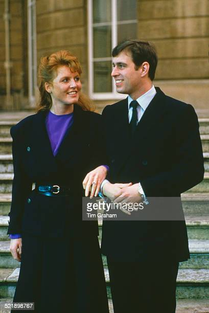 Prince Andrew with Sarah Ferguson at Buckingham Palace after the announcement of their engagement, London, 17th March 1986.
