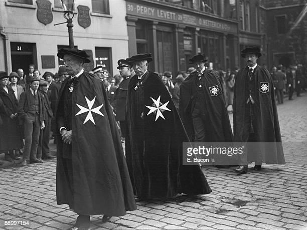 Prince Arthur Duke of Connaught and Strathearn in a procession with fellow members of the Knights of the Order of St John of Jerusalem London 24th...