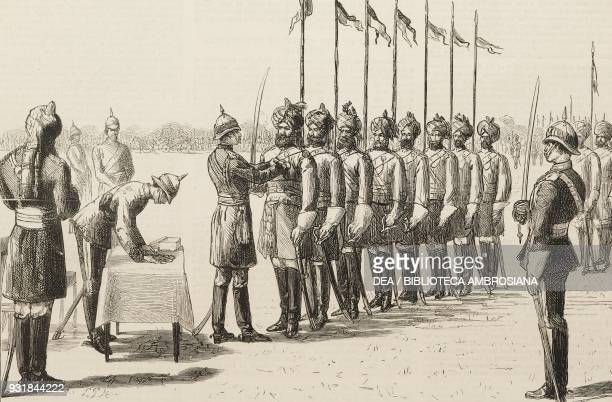 Prince Arthur Duke of Connaught and Strathearn presenting Egyptian war medals to the 13th Bengal Lancers at Meerut 19 December 1883 India...