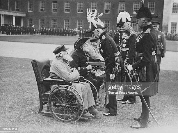 Prince Arthur Duke of Connaught and Strathearn visits Chelsea pensioners on Founders' Day at the Royal Hospital Chelsea London 26th May 1926 The...