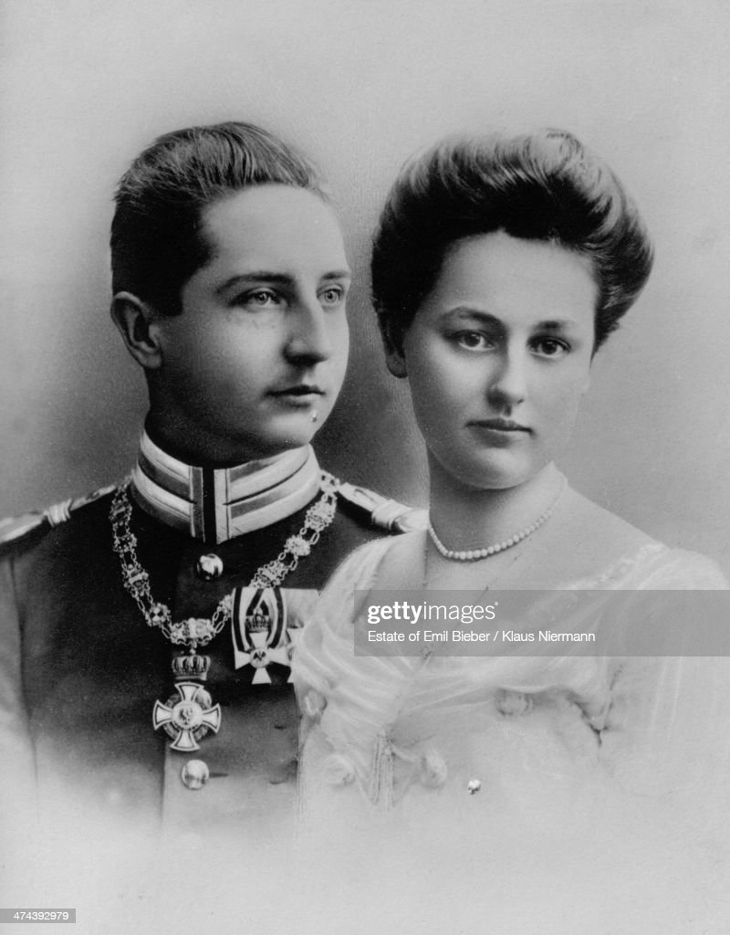Prince August Wilhelm of Prussia (1887 - 1949) and his wife and cousin Princess Alexandra Victoria of Schleswig-Holstein-Sonderburg-Glucksburg (1887 - 1957), circa 1910. The prince is the fourth son of Kaiser Wilhelm II of Germany.