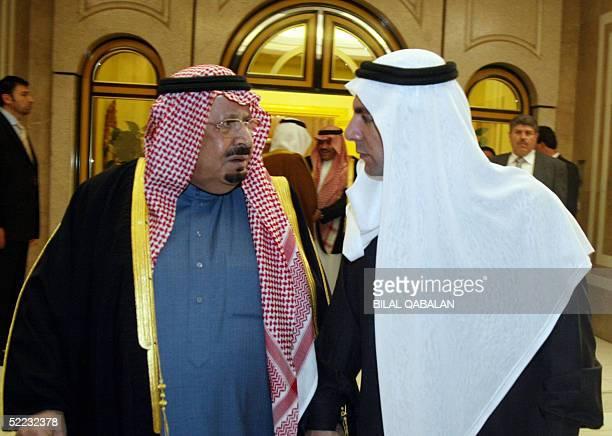 Prince Bandar bin Abdul Aziz brother of Saudi King Fahd is received by Bahaeddin Hariri the eldest son of assassinated Lebanese former premier Rafiq...