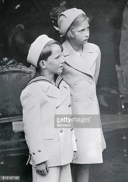 Prince Baudoin and his sister Princess Josephine Charlotte children of King Leopold of Belgium are shown here
