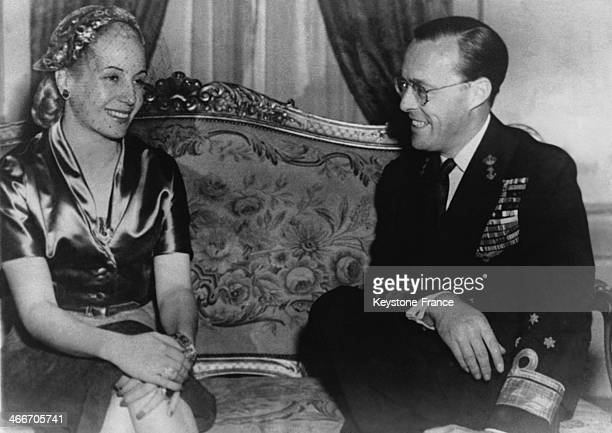 Prince Bernhard and Eva Peron during the reception at the Government House on September 1945 in Buenos Aires Argentina