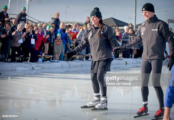 Prince Bernhard and Princess Annette of The Netherlands at the Hollandse 100 ice skating and cycling fund raising event at Flevonice on March 5 2017...