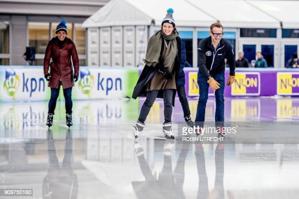 Prince Bernhard and Princess Annette of The Netherlands skate during 'De Hollandse 100' event at the Olympic Stadium in Amsterdam on January 24...