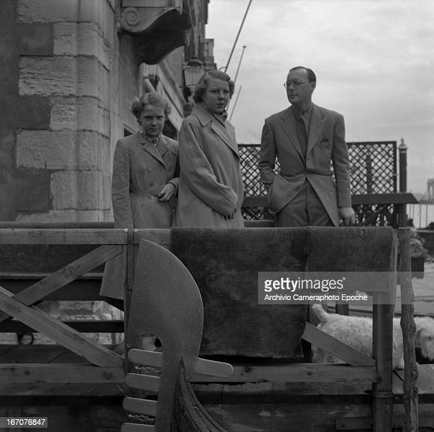 Prince Bernhard of the Netherlands with his daughters Princess Irene and Princess Beatrix of the Netherlands visit Venice Venice Italy