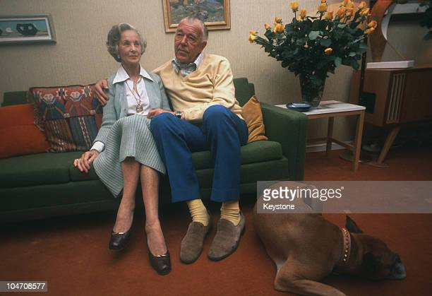 Prince Bertil, Duke of Halland, with his fiance Lilian Craig on October 15, 1976.