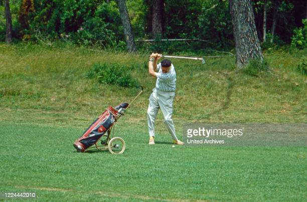 Prince Bertil of Sweden playing golf at Sainte Maxime, France 1987.