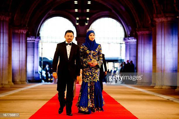 Prince Billah of Brunei and Princess Sarah of Brunei arrive to attend a dinner hosted by Queen Beatrix of The Netherlands ahead of her abdication at...