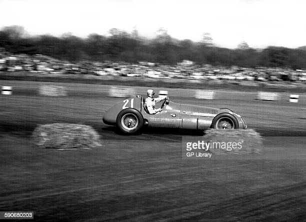 Prince Bira in a Maserati 4CLT at the British GP at Silverstone 1950