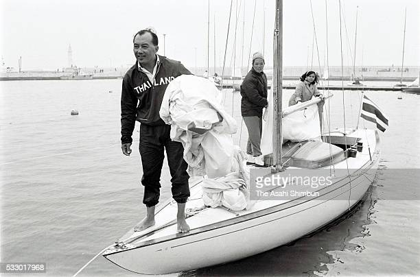 Prince Bira or Prince Birabongse Bhanudej of Thailand Princess Arunee and Prateep Areerob are seen during the Mixed Three Person Keelboat during the...