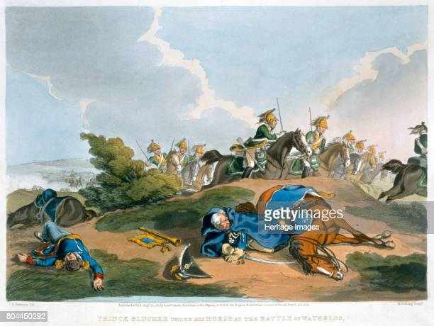 Prince Blucher under his Horse at the Battle of Waterloo' 1815 The intervention of Field Marshal Blucher's Prussian army made a vital contribution to...