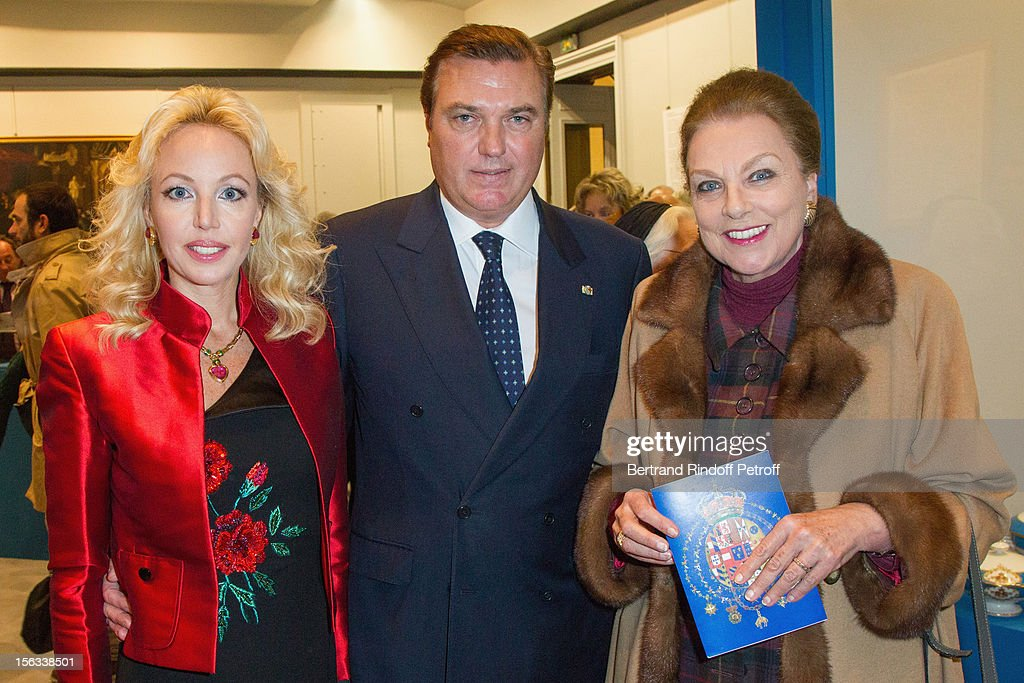 Prince Camilla of Bourbon-Two Sicilies, Prince Charles of Bourbon-Two Sicilies and Princess Barbara of Yugoslavia attend the Royal House of Bourbon-Two Sicilies Exhibition on November 13, 2012 in Paris, France.