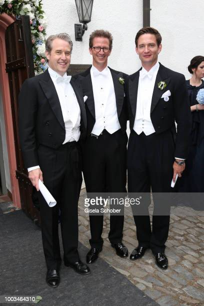 Prince Carl Christian von Wrede and Prince Manuel von Bayern and Prince AugustFrederik zu SaynWittgensteinBerleburg during the wedding of Princess...