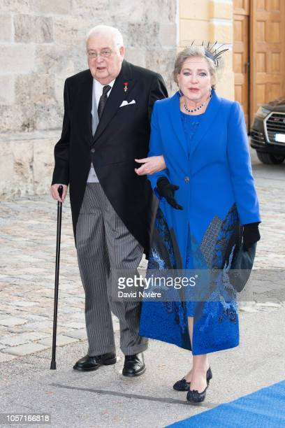 Prince Carl of Wurtemberg and Princess Diane of Wurtemberg arrive at the SaintQuirin Church for the wedding of Duchess Sophie of Wurttemberg and...