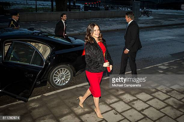 Prince Carl Philip and Princess Sofia arrive at formal gathering at the Royal Swedish Academy of Fine Arts on February 19, 2016 in Stockholm, Sweden.
