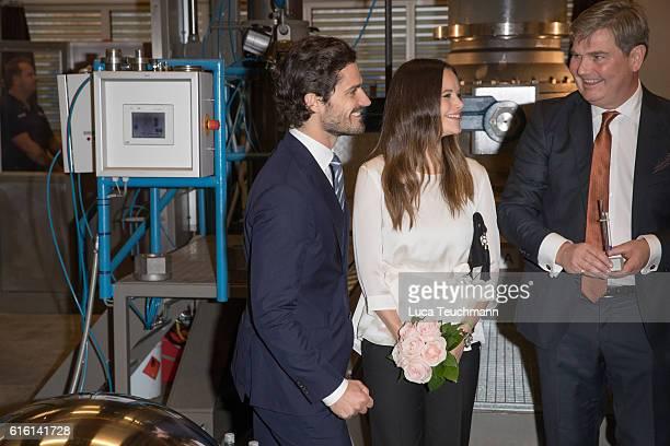 Prince Carl Philip and Princess Sofia arrive at the company SOMA during Visit Varmlandon October 21 2016 in Varmland Sweden