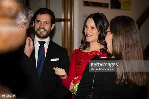 Prince Carl Philip and Princess Sofia attend a formal gathering at the Royal Swedish Academy of Fine Arts on February 19, 2016 in Stockholm, Sweden.
