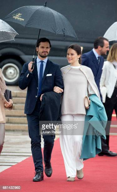 Prince Carl Philip and Princess Sofia of Sweden leave to attend a lunch on the Norwegian Royal Yacht 'Norge' as part of the celebrations of the 80th...