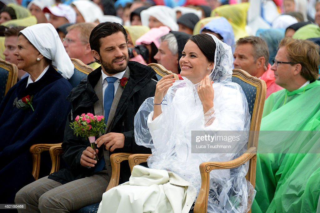 Prince Carl Philip and Sofia Hellqvist attend the Victoria Day celebrations, on the Crown Princess's 37th Birthday, at Solliden on July 14, 2014 in Oland, Sweden.