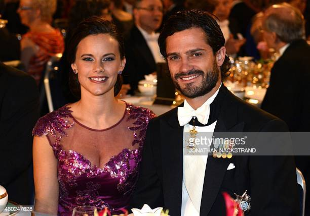 Prince Carl Philip of Sweden and his fiancee Sofia Hellqvist attend the Nobel banquet, a traditional dinner after the Nobel Prize awarding ceremony...