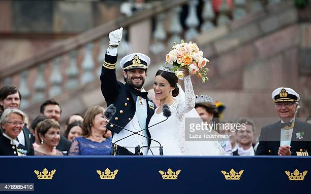 Prince Carl Philip of Sweden and his wife Princess Sofia of Sweden on the balcony after their royal wedding at The Royal Palace on June 13 2015 in...