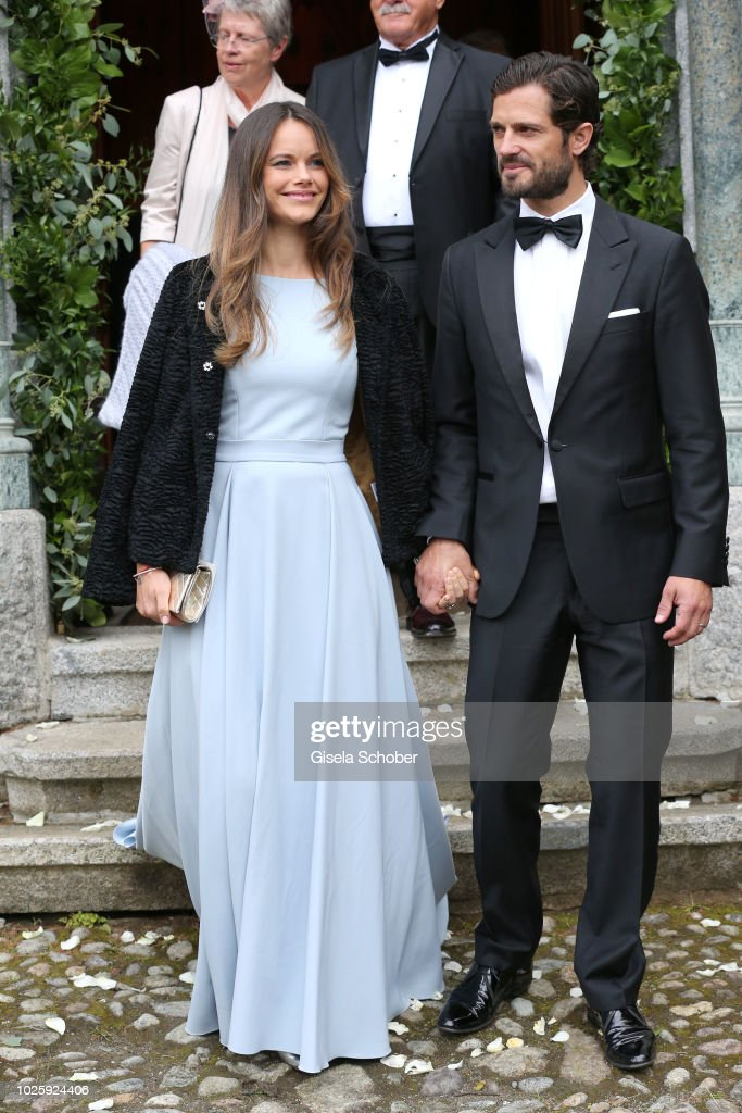 Prince Carl Philip of Sweden and his wife Princess Sofia of Sweden during the wedding of Prince Konstantin of Bavaria and Deniz Kaya at the french church 'Eglise au Bois' on September 1, 2018 in St Moritz, Switzerland.