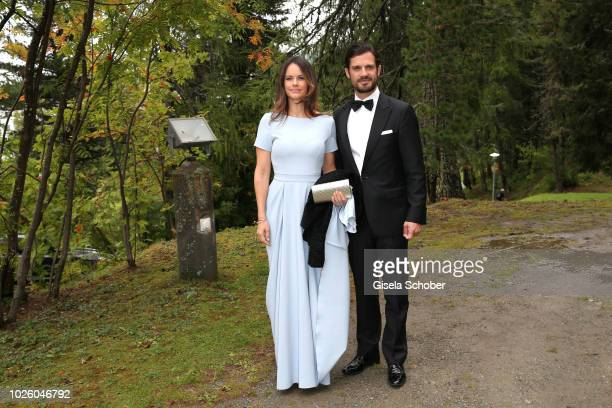 Prince Carl Philip of Sweden and his wife Princess Sofia of Sweden during the wedding of Prince Konstantin of Bavaria and Deniz Kaya at the french...
