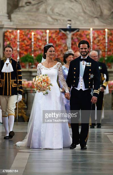 Prince Carl Philip of Sweden and his wife Princess Sofia of Sweden prepare to depart after their royal wedding at The Royal Palace on June 13, 2015...