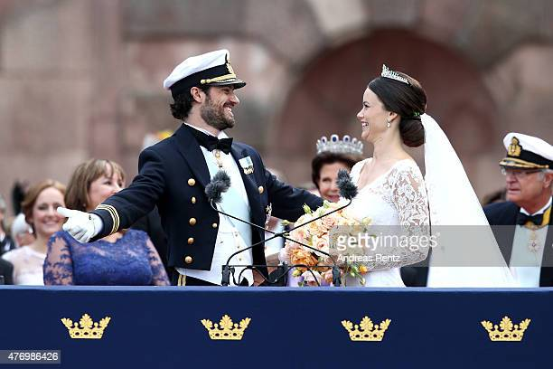 Prince Carl Philip of Sweden and his wife Princess Sofia of Sweden gaze at each other after their marriage ceremony on June 13 2015 in Stockholm...