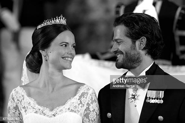 Prince Carl Philip of Sweden and his wife Princess Sofia of Sweden look at one another and smile after their marriage ceremony on June 13 2015 in...